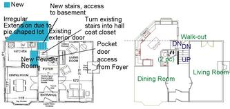 New extension and rough layout of the new kitchen.